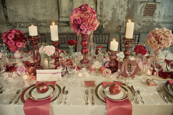 Pink Cream Floral Wood Gold Table Setting - Storyboard Wedding