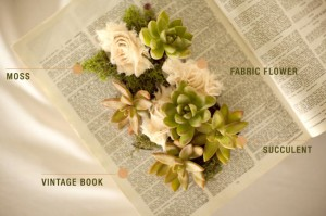 DIY Succulent Vintage Book Planters by Wednesday Featured on Green Wedding Shoes