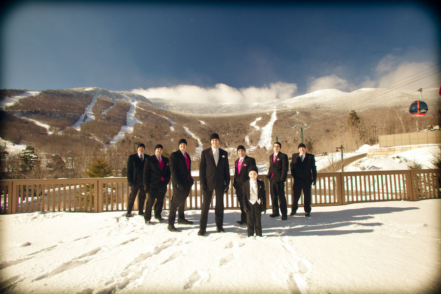 Stowe Mountain Magic In The Winter 2 Gown Wedding Complete With Cape & Hand Mufflers