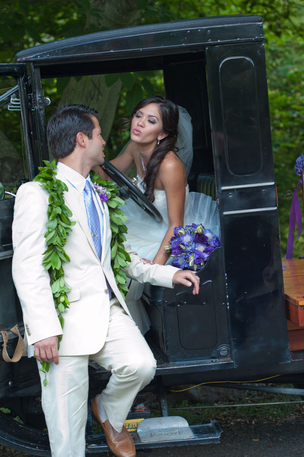 Rustic Touches & A 1924 Ford Model-T Make This Purple Infused Hawaiian Wedding A Dream