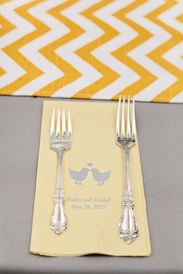 DIY Wedding Delight With Bright Yellow Chevron Table Runners In This Gorgeous Oklahoma Wedding | Photograph by Larissa Nicole Photography
