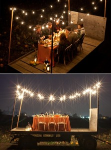 Bash Please Fall Dinner Under Twinkle Lights On Hay Wagon