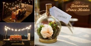 Bash Please Fall Dinner Under Twinkle Lights On Hay Wagon DIY-terrarium-placeholder- Green Wedding Shoes