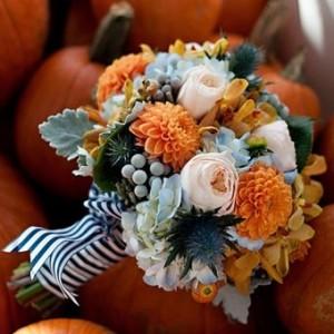 Fall Bouquet Orange Dahlia, White Rose, Dusty Miller Navy and White Ribbon