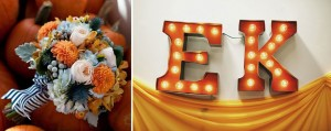 Fall Bouquet Orange Dahlia, White Rose, Dusty Miller Navy and White Ribbon DIY Carnival Marquee Letters Ruffled Blog
