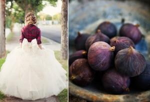 Full Tulle Skirt Big Bow Bride with Plaid Mini Jacket Design Seeds Deep Purple Fig