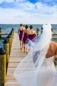 Rehoboth Beach Country Club Wedding In Strong Purples & Bright Gre...