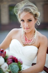 Contemporary Fresh Faced Bride Makes A Statement In A Gold Blusher Vei...