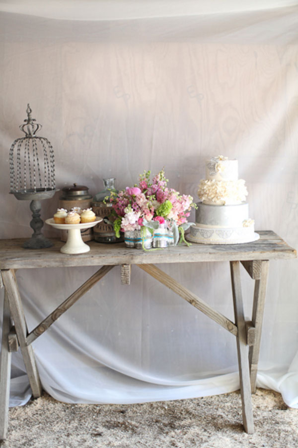 Rustic Vintage Glamour Styled Country Wedding Featuring Soft Pinks, Sw...