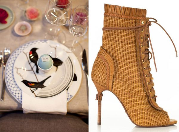Soft pastels, earth tones, dyed eggs, and floating flowers with Jason Miller Seconds plates Newlywish Sergio Rossi Kalhari Woven Bootie