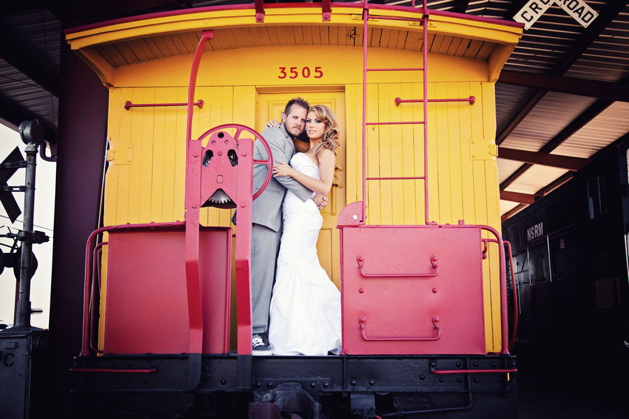 Playful Trash The Dress Boulder City Train Museum Gone Awry | Photograph by Moxie Studio