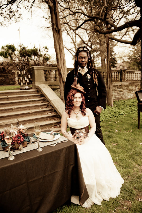 Ruffles, Locks, & Gears- The Softer Side of A Steampunk Inspired Wedding | Photograph by BG Productions