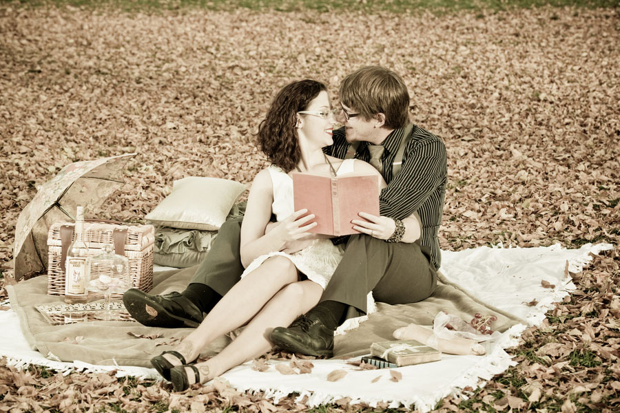 1920s Flapper Inspired Engagement Session With Picnics & Train Stations   Photograph by Sarah Roshan