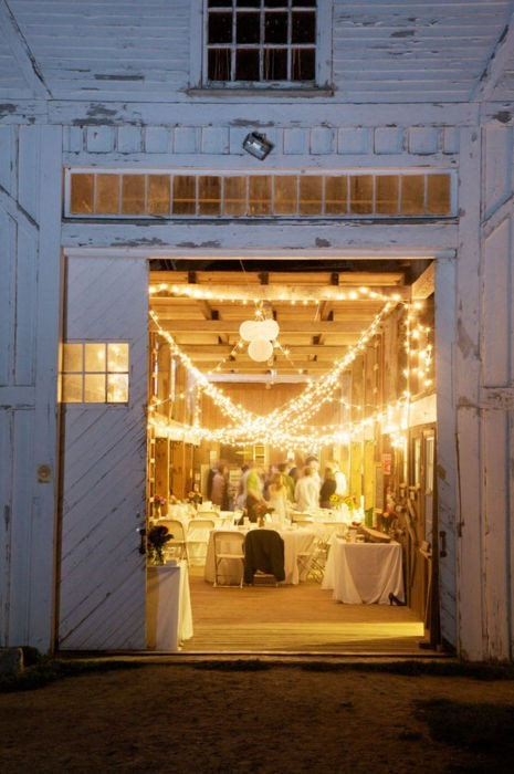 barn wedding christmas light strands