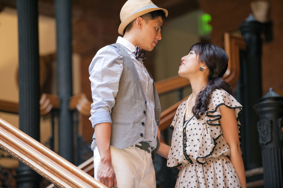 Engagement Love In The Form Of Vintage Photographer At The Bradbury Building | Photograph by The Big Affair
