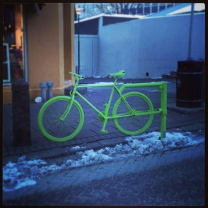 Neon Green Bike Road Block Reykjavik