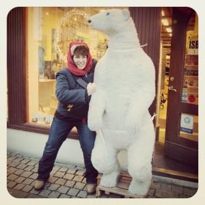 Taking on a polar bear in Reykjavik Iceland