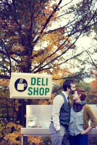 Unique Vintage Flair Outdoor Coffee Shop Engagement Session | Photograph by Brightside Studios
