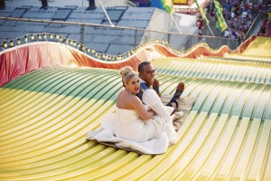 Carnival Infused Trash The Dress Session Complete With Corn dogs & Giant Slides