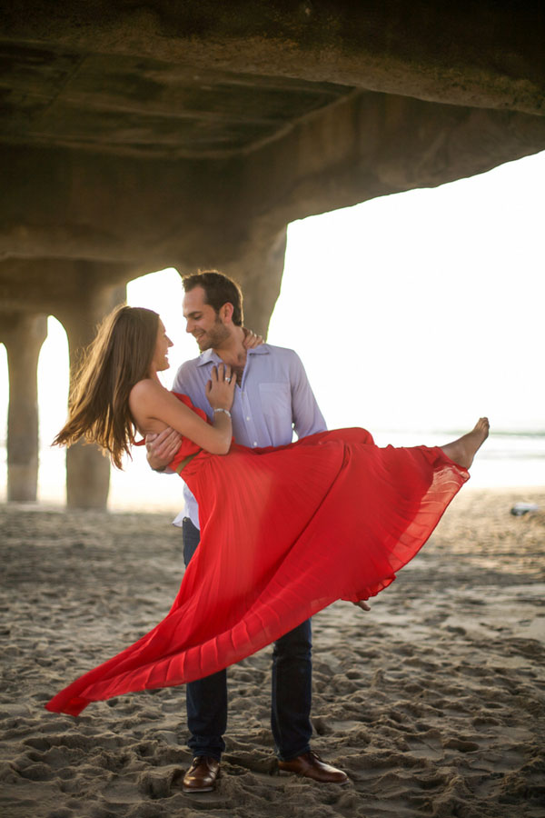 Dancing On The Shore In This Manhattan Beach Sunset Engagement Session   Photograph by T. C. Engle Photography