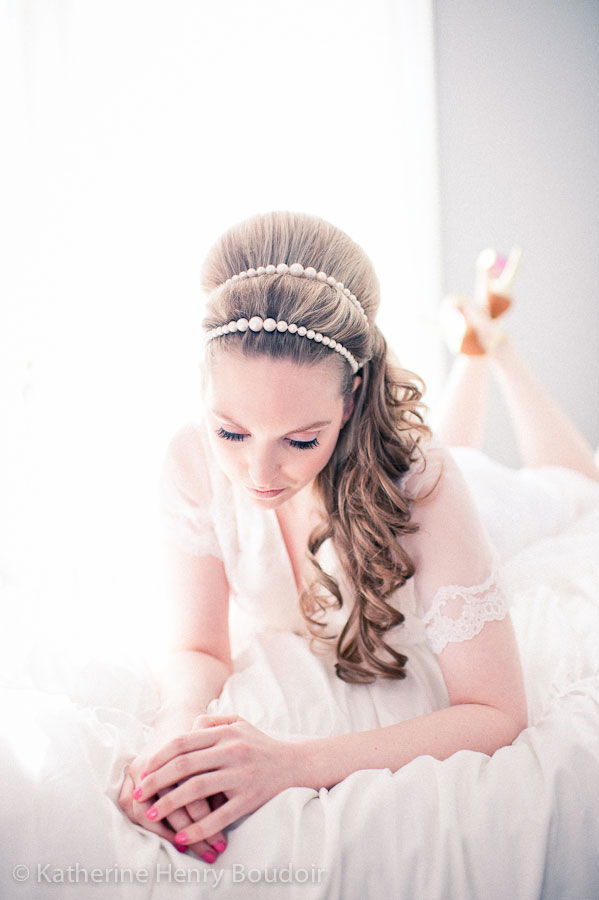 Dreamy Daytime Boudoir With A Touches Of 60s Retro And Free Falling Feathers | Photograph by Katherine Henry Boudoir