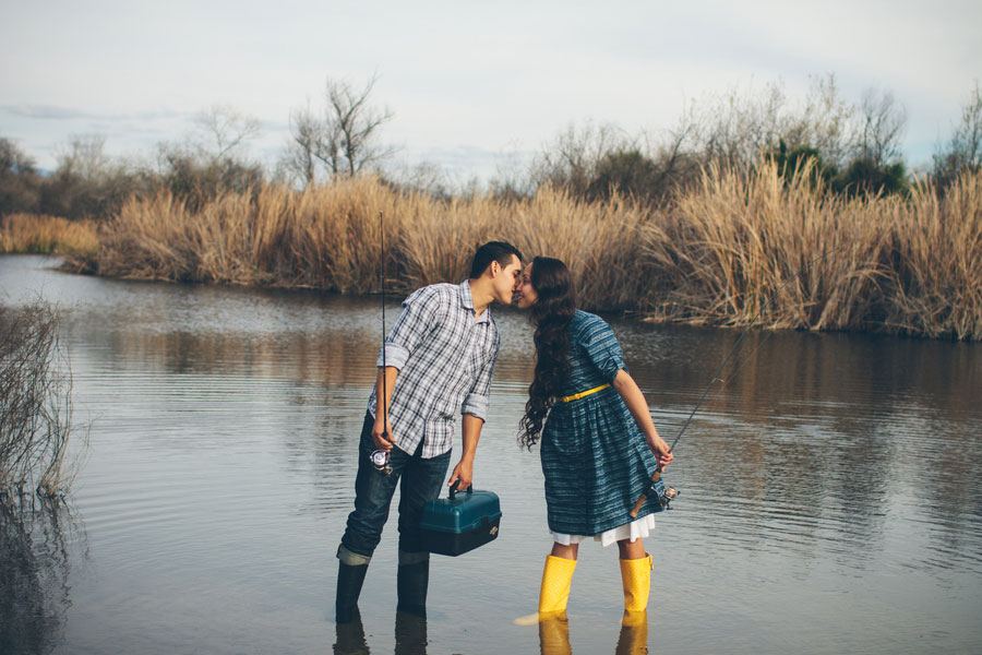 My Yellow Rain Boots- An Engagement Love Story While Fishing In The San Diego River | Photograph by Brandon Heath Photo