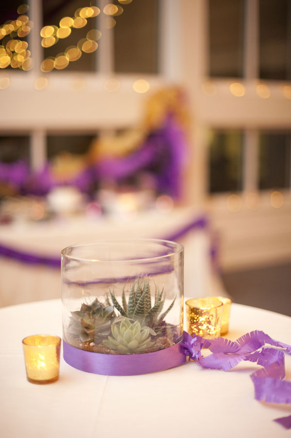 No Standing, Only Dancing!  Purple & Yellow Wedding With Fringe Banners and Succulent Bouquets | Photograph by Robin Nathan Photography