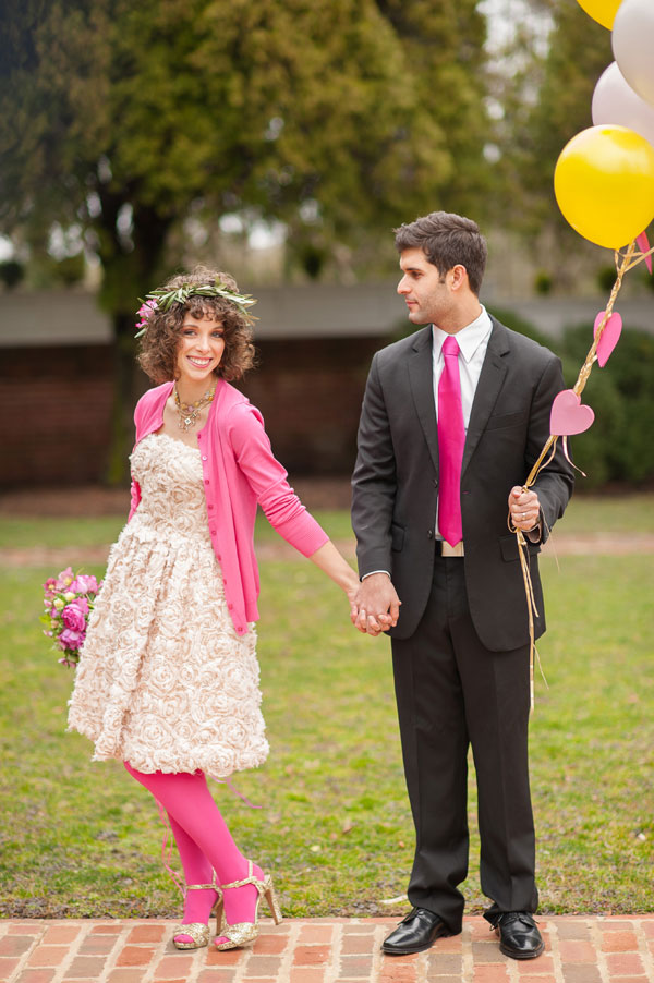 Pretty In Pink Cool Spring Weather Wedding Featuring Bows & Arrows And Streamer Balloons | Photograph by Gina Petersen Photography