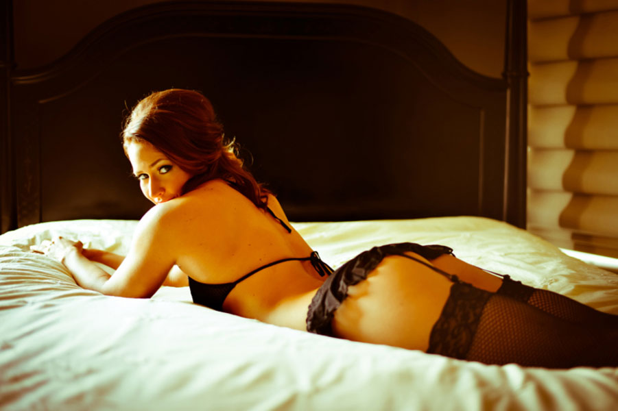 Bare Derriere Boudoir In Black Lingerie & Red Corsets | Photograph by Bluegrass Boudoir
