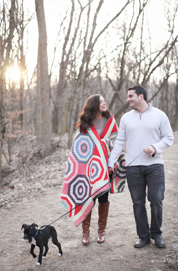 Wooded Americana Outdoor Engagement Session With Puppy Z | Photograph by Blue Mason Photography