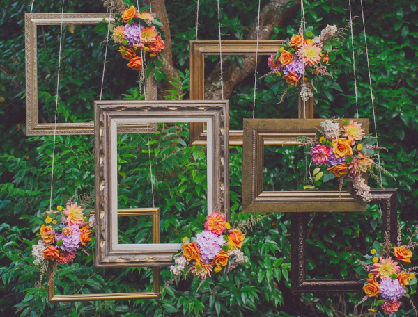 Why It Works Wednesday: Bohemian Inspired Suspended Frames In A Ceremony Backdrop
