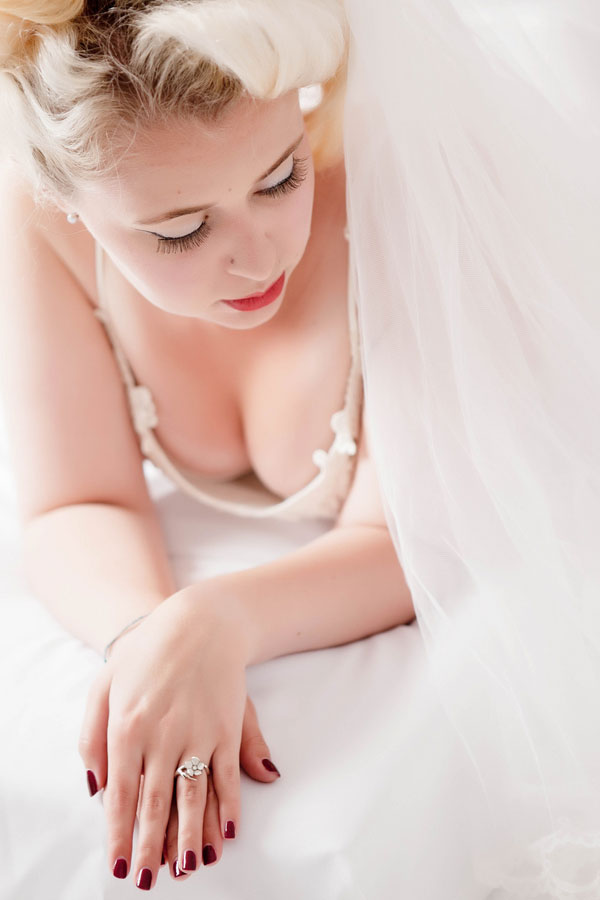 White Wedding Boudoir ~ The Classic Bride Gets Sexy | Photograph by Charlene Morton Photography