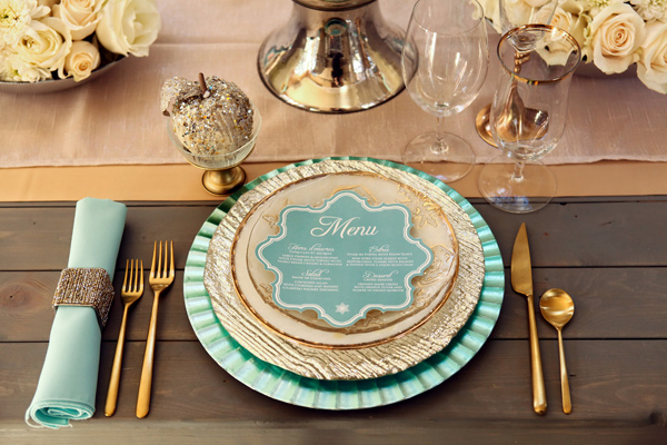 Mint Gold Wedding Place Setting Pepper Nix Photography