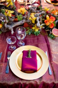 California Mission Style Wedding Al Fresco Set In Deep Berry Tones With Citrus Twist & Pomegrana...