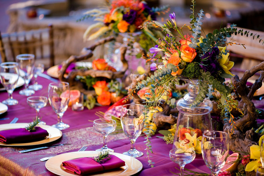 California Mission Style Wedding Al Fresco Set In Deep Berry Tones With Citrus Twist & Pomegranate Earthiness