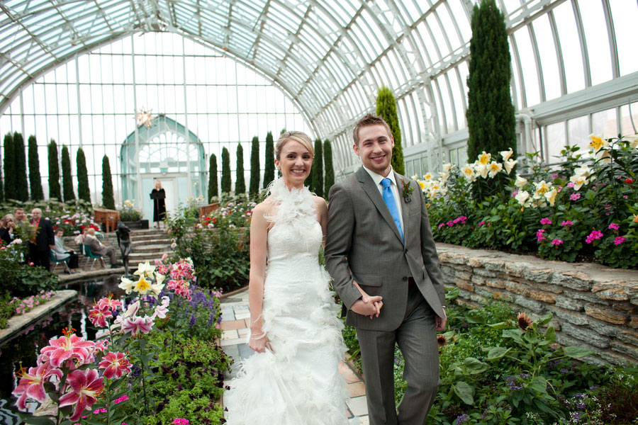 Sunken Garden at Como Park Zoo & Conservatory Plays Host To An Early Morning Intimate Wedding Affair   Photograph by Erin Johnson Photography