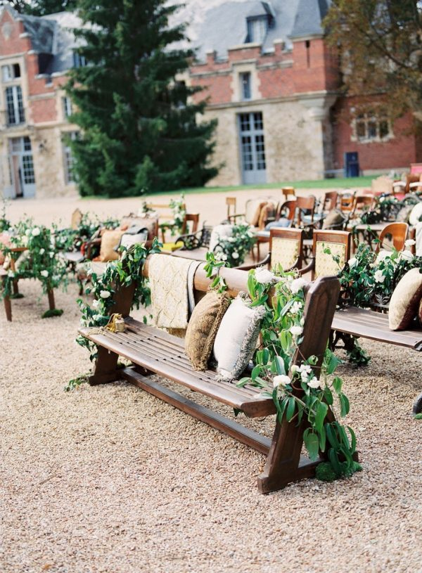 Wooden Bench Ceremony Seating With Mix Match Wood Chairs