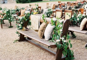 Wooden-Bench-Ceremony-Seating-With-Mix-Match-Wood-Chairs