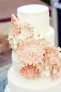 Why It Works Wednesday: Vintage Milk Glass Cake With Stunning Sugar Floral Sash