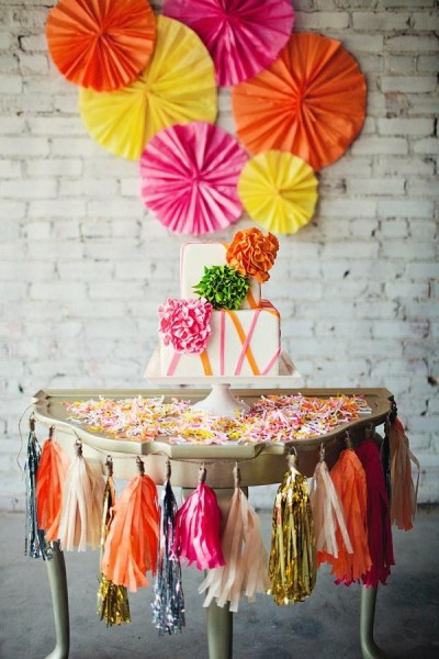 Neon Square Wedding Cake Display Table Pinwheels Tassel Garland Madisons on Main Street via Ruffled Blog Amanda Watson