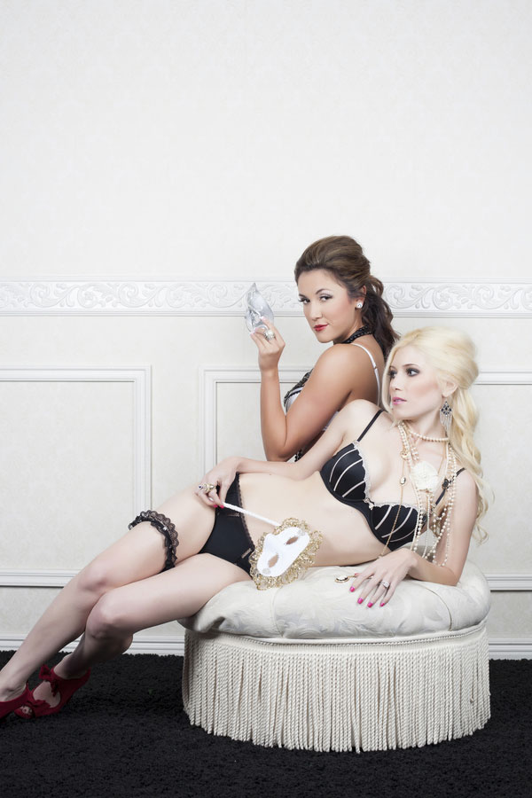 Parisian Inspired Sophisticated Parlor Boudoir With Two Femme Fatales | Photograph by Jaime Davis Photography