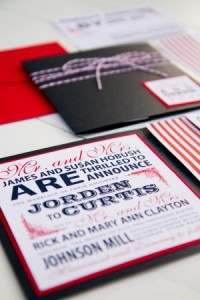 Red White & Blue Wedding Invitations Beyond Patriotic Love | Design via Pink Piggy Design | Photograph by Kate Osborne
