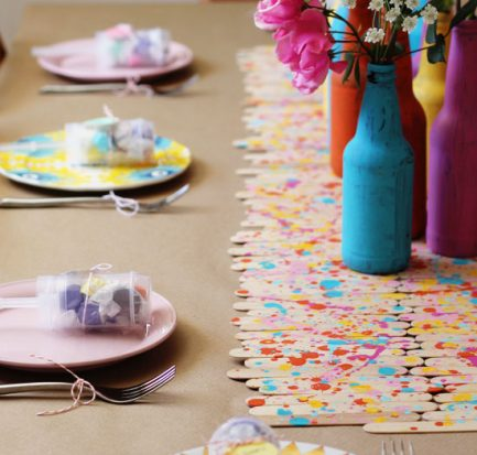 Splatter Paint Popsicle Stick Runner DIY via At Home In Love