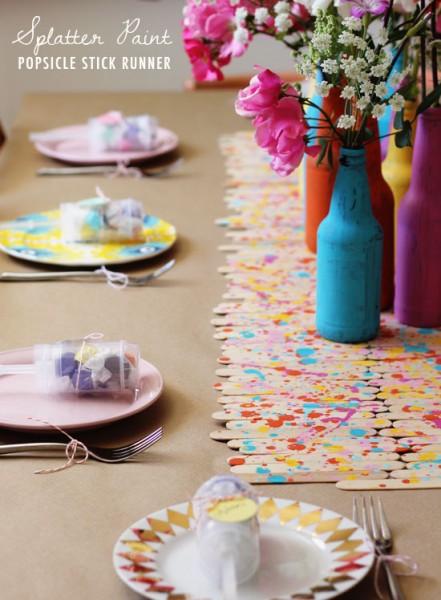 Splatter Paint Popsicle Stick Runner DIY via At Home In Love