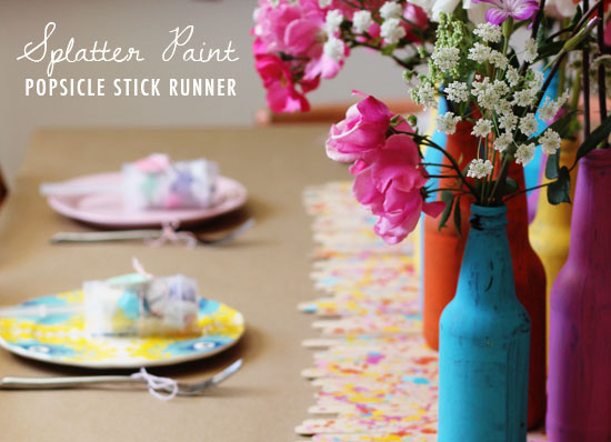 DIY Splatter Paint Popsicle Stick Table Runner & Bottles via At Home In Love