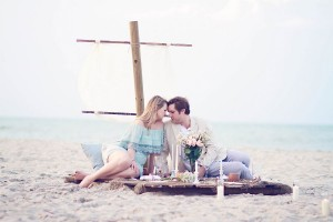 Sunrise Shipwrecked Raft Surprise Engagement Session With All The Elegant Beachy Touches