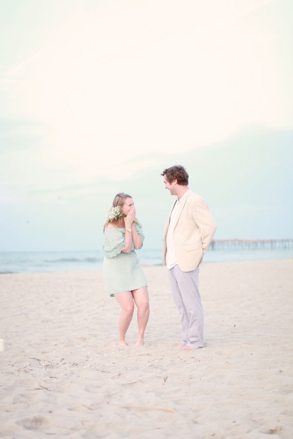Sunrise Shipwrecked Raft Surprise Engagement Session With All The Elegant Beachy Touches | Photograph by Sweet Roots Photography