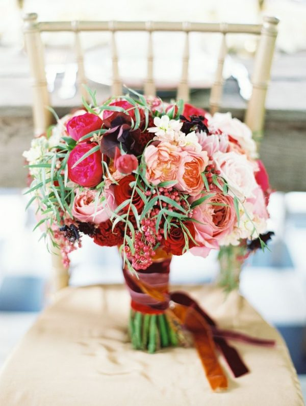 Whimsically Romantic Pink Red Hued Wedding Bouquet by Petalos Eric McVey Photography