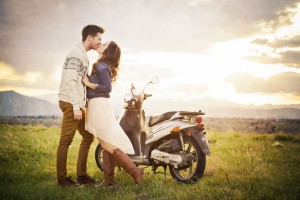 Love At First Sight Street Perform Engagement Session Complete With Getaway Moped & Glitter Figh...