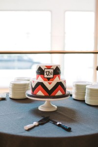 Sleek Modern Wedding At Cam Raleigh With Chevron Dreams In Coral & Gray | Photograph by Carolyn Scott Photography